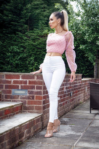 Pink Polka Dot Sheer Shirring Detail Bardot Crop Top