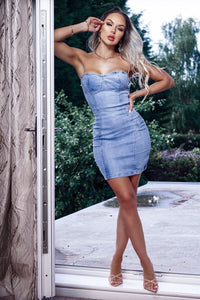 Light Blue Strapless Bodycon Denim Dress