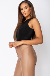 Black Double Layer Slinky Bodysuit