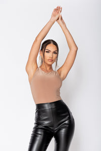 Camel Double Layer Slinky Bodysuit