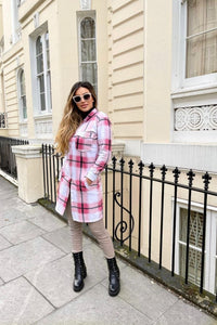 Pink Checked Longline Shacket