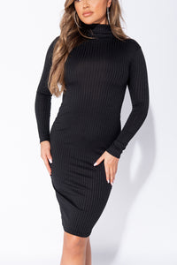 Black Rib Knit Roll Neck Midi Dress