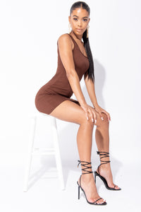Brown Scoop Neck Rib Knit Bodycon Mini Dress