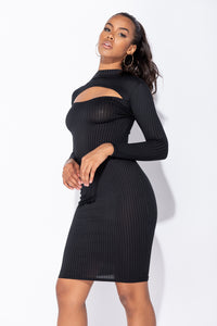 Black Cut Out Front Rib Knit Long Sleeve Midi Dress