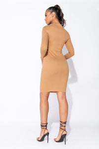 Camel Cut Out Front Rib Knit Long Sleeve Midi Dress