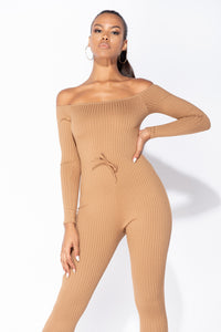 Camel Rib Knit Long Sleeve Bardot Jumpsuit