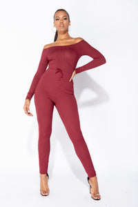 Wine Rib Knit Long Sleeve Bardot Jumpsuit