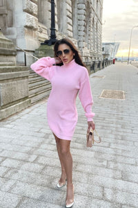 Baby Pink Roll Neck Knitted Mini Dress