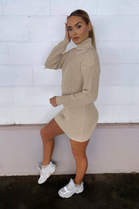 Beige Roll Neck Knitted Mini Dress