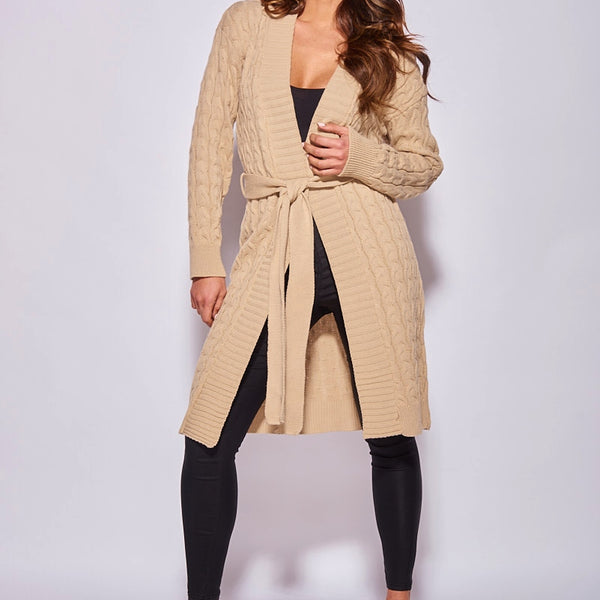 Beige Cable Knit Belted Longline Cardigan