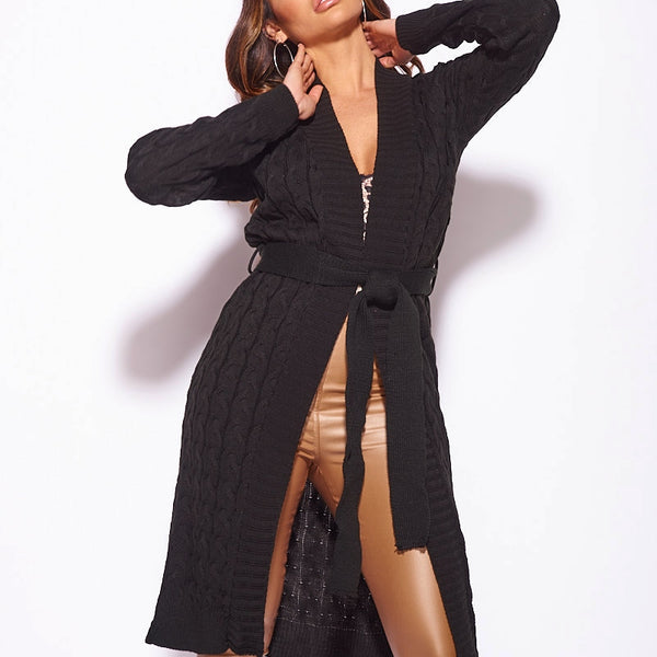 Black Cable Knit Belted Longline Cardigan