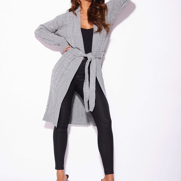 Grey Cable Knit Belted Longline Cardigan