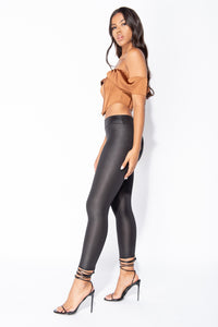 Black Wet Look High Waist Leggings