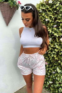 Pink White All Over Love Print Shorts