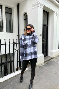 Black Oversized Checked Pocket Detail Shacket