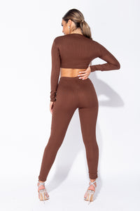 Brown Rib Knit Ruched Front Long Sleeve Crop Top & Leggings Lounge Set