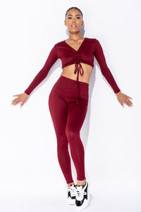 Wine Rib Knit Ruched Front Long Sleeve Crop Top & Leggings Lounge Set