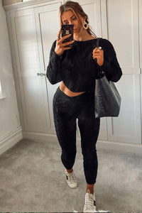 Black Cable Knit Jogger Lounge Set
