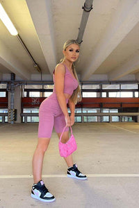 Pink Scoop Neck Crop Top & Cycling Short Set