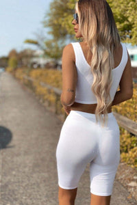 White Scoop Neck Crop Top & Cycling Short Set