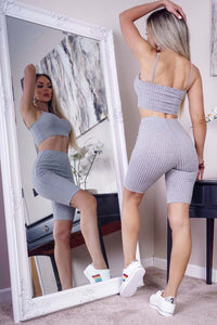 Grey Rib Knit Cami Crop Top & Cycling Shorts Set