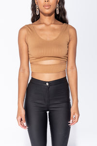 Camel Cut Out Front Rib Knit Crop Top