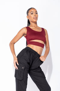 Wine Cut Out Front Rib Knit Crop Top