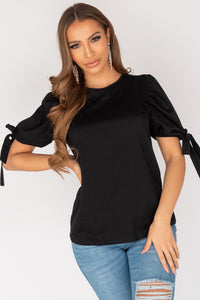 Black Tie Up Puffed Sleeve T Shirt