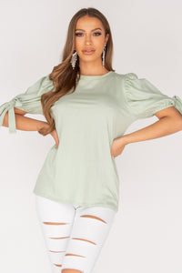 Mint Tie Up Puffed Sleeve T Shirt