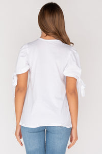 White Tie Up Puffed Sleeve T Shirt