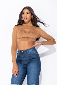 Camel Cut Out Front Rib Knit Long Sleeve Crop Top