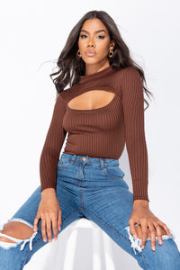 Brown Rib Knit Cut Out Detail Long Sleeve Turtle Neck Bodysuit