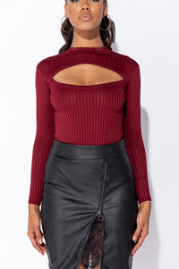 Wine Rib Knit Cut Out Detail Long Sleeve Turtle Neck Bodysuit