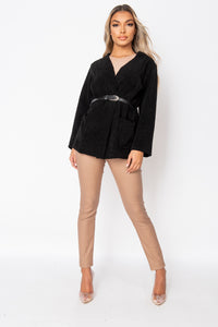 Black Patch Pocket Belted Blazer