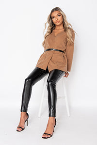 Camel Patch Pocket Belted Blazer