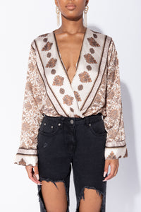 Cream Scarf Print Crossover Satin Long Sleeve Bodysuit