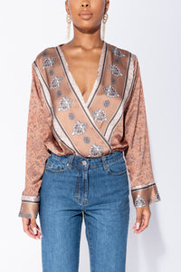 Mocha Scarf Print Crossover Satin Long Sleeve Bodysuit