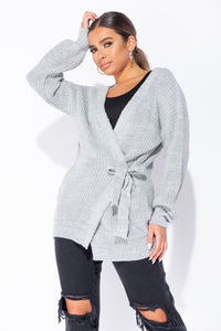 Grey Mid Length Tie Belt Detail Cardigan