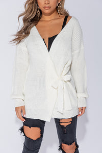 Off White Mid Length Tie Belt Detail Cardigan