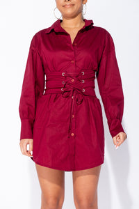 Wine Long Sleeve Shirt Dress With Eyelet Lace Up Belt