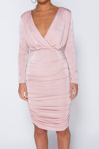 Pink Slinky Fabric Wrapover Front Long Sleeve Ruched Mini Dress