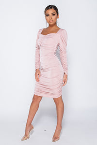Pink Slinky Fabric Sweetheart Neckline Long Sleeve Ruched Midi Dress