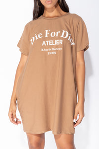 Camel Die For Dior T Shirt Dress