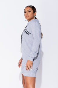 Grey Die For Dior Hooded Jumper Dress
