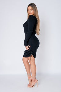 Black Ruched Side Long Sleeve Knitted Midi Dress