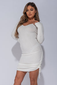 Off White Ruched Side Long Sleeve Knitted Midi Dress