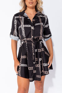 Black Chain Print Belted Mini Shirt Dress