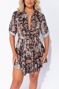Black Snake Print Belted Mini Shirt Dress