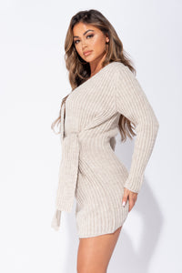 Beige Wrapover Knitted Mini Dress