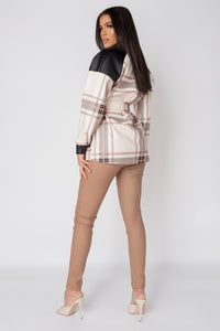 Cream Checked Faux Leather Trim Belted Jacket